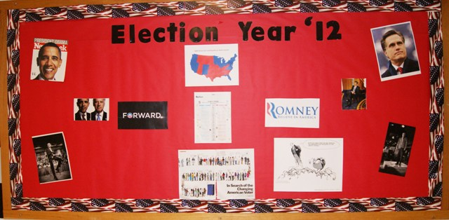 North Forsyth informs students about the presidential election details by posting information on bulletin boards around the campus.