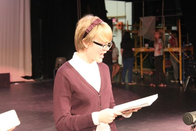 Hannah Manikowski, sophomore, prepares for her solo in the upcoming musical, Changing Minds.