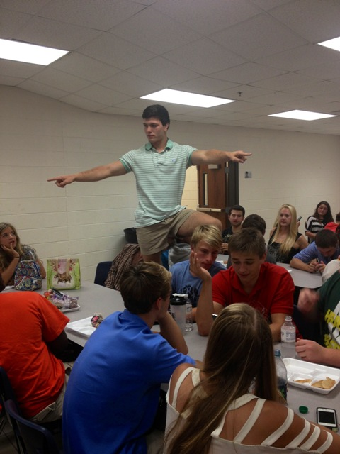 Shane Cross campaigning at lunch.