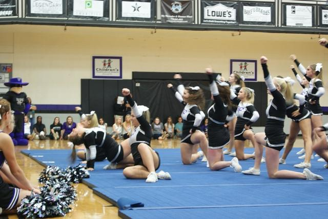 The 2013 competition cheerleading squad displaying the hard work and dedication at north Forsyth first pep rally. The hours they have worked leads up to their competition against the whole state for first place.