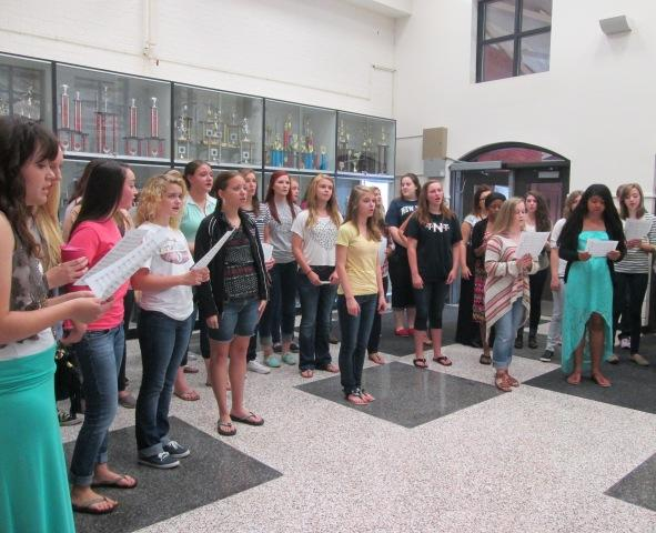 The NFHS Advanced Women's Choir honored the anniversary of the 9/11 attacks during Instructional Focus on Wednesday, September 11, 2013.