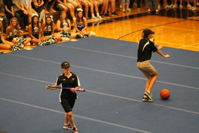 The school staff joined in the pep rally hilarity by putting on their own humorous skits.