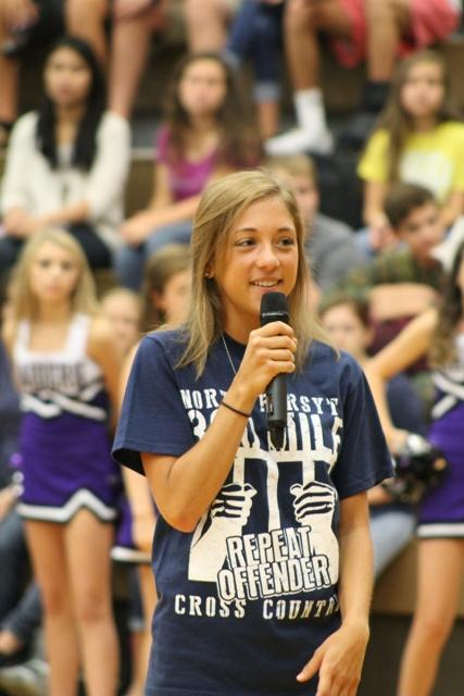 Extracurricular activities, such as clubs and sports, were honored during the pep rally. Coaches, team captains, and student officers talked briefly about their own organizations.