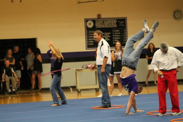 North Forsyth's faculty showed their school spirit Friday by wearing the school colors and eagerly participating in the pep rally.