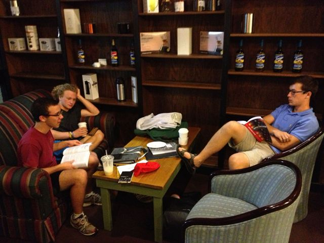 North Forsyth High School juniors Josh Martin, Chad Ward, and Brian Grasso gather to study United States History and taste The Cup Bearer's new fall drinks.