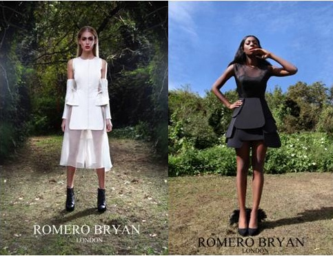 Models Emilie Osborne & Samantha Smart show off their Romero Bryan originals, posing for the pictures below in The Secret Garden. Known for his artistic ability with chiffon material, Romero continues to cultivate as he produces a seductive yet classy style, completely unheard of by the fashion world.