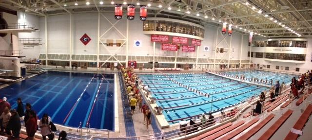The UGA aquatic center waits in peace, minutes before the college swim meet begins.