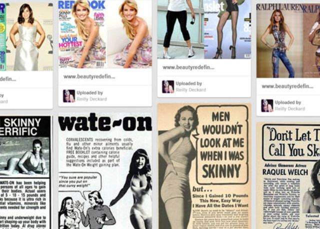 This Pinterest board displays numerous advertisements from the 1940's and '60's, as well as more recent advertisements. They show the dramatic change in the world's views on body image.