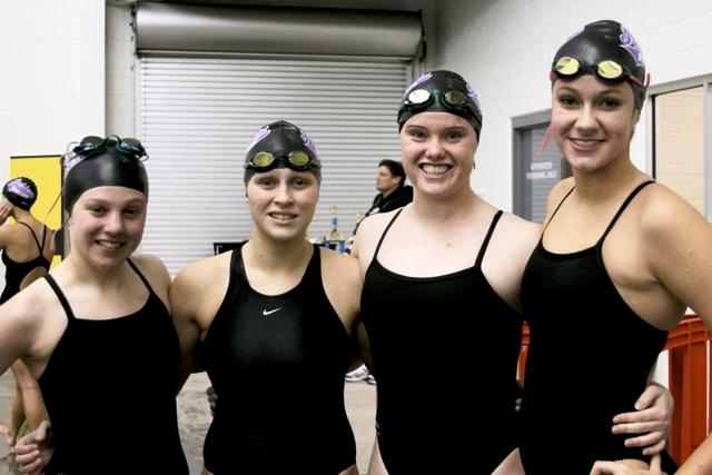 North Forsyth's free relay team: Elly Wagner, Kelsey Robins, Kaylyn Thomas, and Emily Carroll.