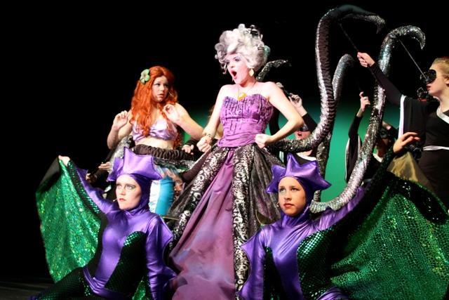 Natalie Williamson (Ursula), Savanna Grant (Ariel), Natalie Andric (Flotsam), Breanna Hayworth (Jetsam).