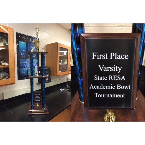 Proudly on display in Academic Bowl coach Ms. Dykes's room, the trophy stands as a reminder of all of the hard work the team put into the season.