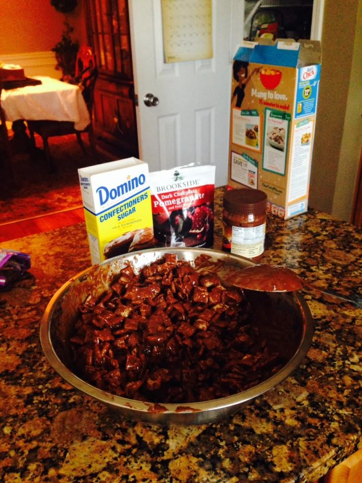 Once the chocolate has been melted, we poured it over the cereal and stirred.