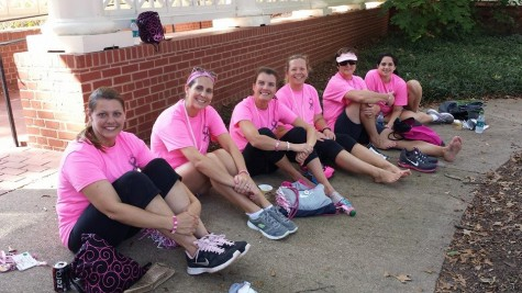 Used with permission by Amy Dykes. After completing 10 out of their 20 miles for Saturday, (from left to right) Michelle Smith, Jessica Younghouse, Amy Dykes, Miriam Greene (Jim Hill's sister), Dr. Beth Hebert, and Lindsey Collins (Dr. Hebert's daughter) took a lunch break in front of Agnes Scott College.   For more information about the Atlanta Two Day Walk for Breast Cancer, go to http://itsthejourney.org/