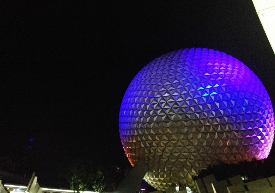 The giant sphere that holds the Spaceship Earth ride is visible in all parts of Epcot. Spaceship Earth looms over everything else in the park, so onlookers can see it no matter where they are in Epcot. The sphere, besides being an impressive sight, can also serve as a directional beacon, as it is located near the entrance of the park. This is most helpful to those who are stuck in the Food and Wine Festival, as they can easily guide themselves back to the entrance of Epcot.