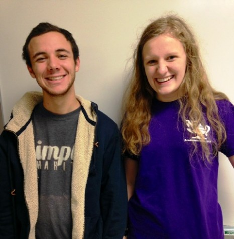 """Seniors Brian Grasso and Emma Browning cheerfully smile at the camera with the knowledge of their possibly imminent scholarship opportunity. Browning and Grasso studied for days preparing for the PSAT their junior year, working to achieve high enough scores to be considered for the National Merit Scholarship. """"I actually got a higher score my sophomore year,"""" Emma explains, laughing. """"You can do a lot with $2500. To be considered for this scholarship could mean lower college tuition, which would make the preparation worth it."""""""