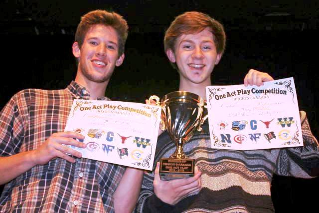 Sophomore Brody Grant and Jaice Haney proudly carry their award certificates. The two have performed in many plays, and were glad to receive the well-deserved recognition. [Photo used with permission by Mary Hayes Ernst]