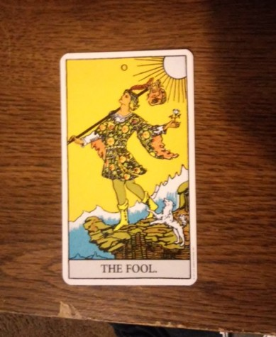 0 The Fool- The Fool is the perfect card to start learning with because it symbolizes the beginning of a journey. Unaware of what will happen, The Fool takes only what he needs (the sack on the stick) and sets off., yet he is oblivious to what will happen and could encounter problems if the path of obliviousness is followed (the cliff).