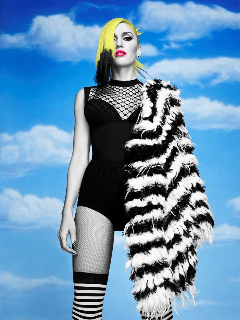 """Gwen stands in a fierce pose, reminiscent of Katniss Everdeen from """"the Hunger Games,"""" in a promotional image for her new single """"Baby Don't Lie."""" She is wearing a black unitard and is shrouded in a feathered shawl, invoking images of a bird taking flight."""