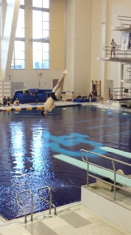 Ranked as the most difficult dive of the meet, senior Eric Decker finishes the spin on his 3 ½ twist. After a lengthy season, The Raider Dive Team took three seniors to the dive meet to compete among the best in the state, and performed their toughest dives for the challenging judges. All three of the boys scored within the top 20 of the GHSA 6-AAAAAA state diving competition.