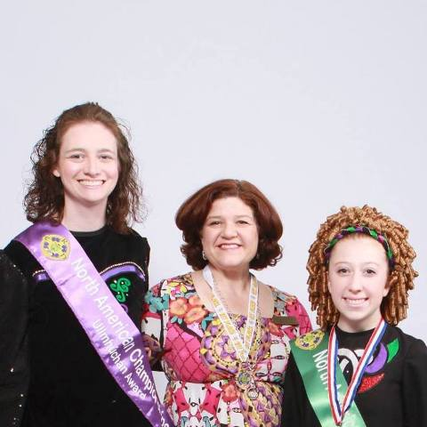 Jamie Summerour, Mary Hayues Ernst (middle), and Hunter Trask stand showcasing their sashes and medals of The CRN North American Championships. All the way in Vegas, The Celtic Club participated in this year's championship, bringing back many awards.