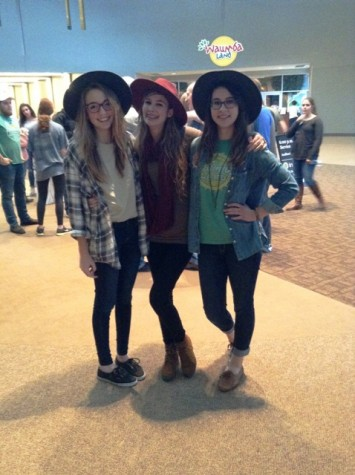 : Sophomores Carolyn Baird, Tori McCord (NFHS) and Lydia Lindsey (Central High School) enjoy their time spent together at Browns Bridge Community Church. (Photo used with permission of Tori McCord).