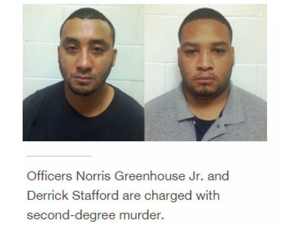 Officers Norris Greenhouse Jr and Derrick Stafford have been charged with second-degree murder and attempted second degree murder after open firing on a car which housed a six year old boy and his father. There were two other officers on the scene who have not been charged.