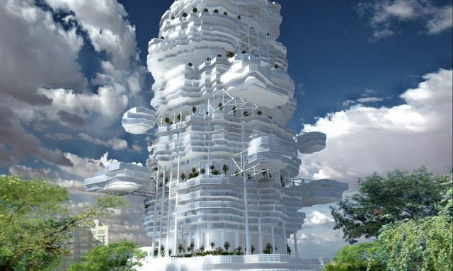 1.	Cloud city by the Union of Architects of Kazakhstan takes on a design based on the structures of the sky themselves.  Rather than the traditional solid-building design, Cloud City's structure is designed to have different levels of compartments that vary in position as the building rises.  To put this in perspective, most of the building's base structure is hollow support while connected office compartments reach out from varies places, allowing all of these office and apartment areas to be naturally lit due to an absence of light obstruction.