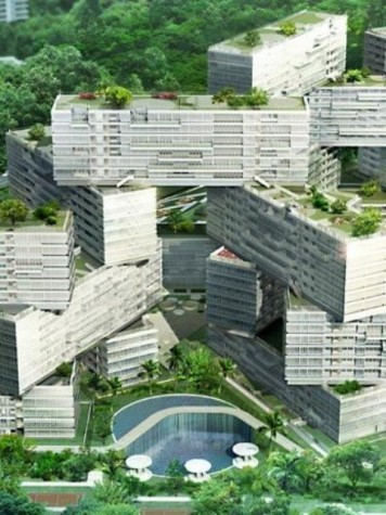2.The Interlace by Ole Sheeren of OMA is designed in an alternating block structure to allow the maximum amount of sunlight to flow through to the courtyards at the base and to the surrounding countryside.  Alongside this, greenery grows across rooftops and side terraces to increase the amount of plant life prevalent in the area.