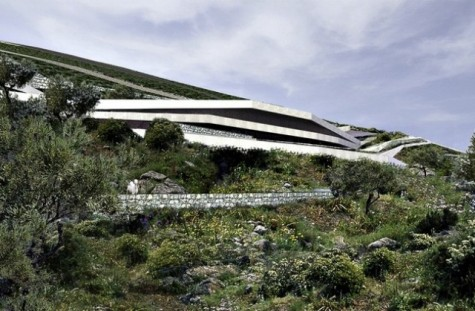 3.Davor Mateković of PROARH designed the Hill House.  This structure takes a much more subtle approach and attempts to blend the house into the landscape, and also follows the contours of the hill with its shape.  Alongside this, as it is designed to be a Mediterranean dwelling, the surrounding groves of olives provide a natural cooling system through shade and absorbing heat.