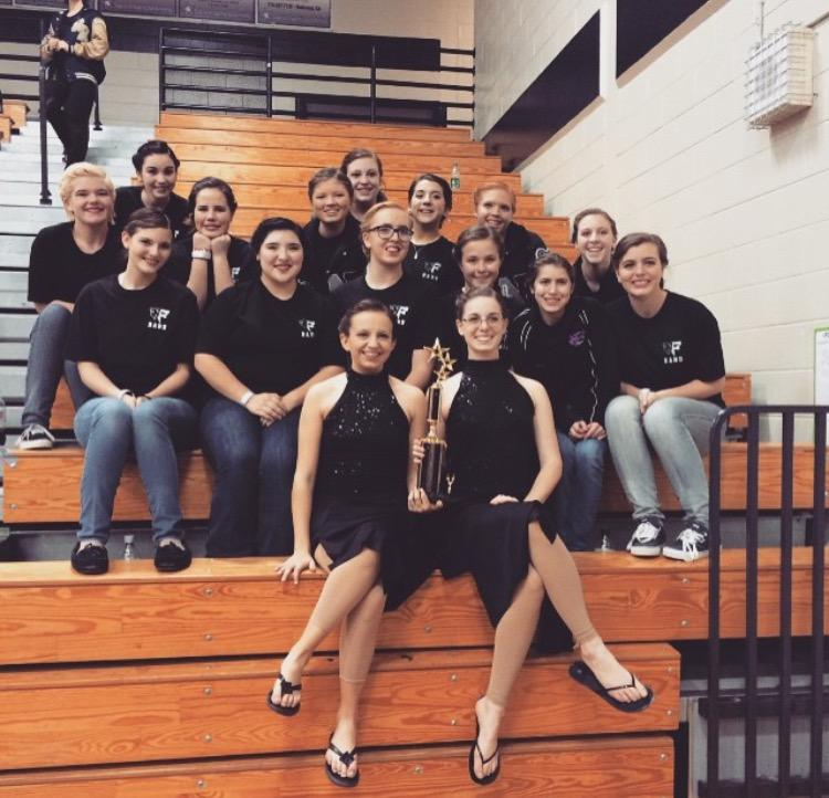 Last year's winter guard after awards at a competition.