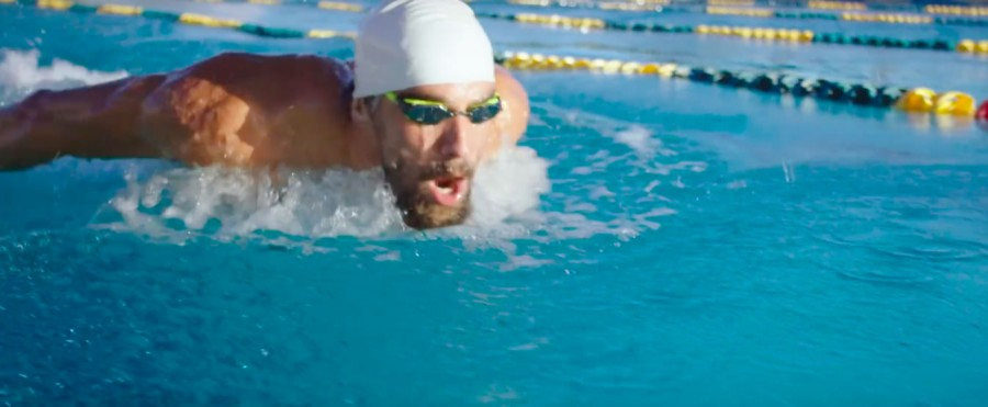 Michael Phelps grinds out an early morning practice in his new training center at Arizona State. Screenshot from video here: https://youtu.be/Xh9jAD1ofm4