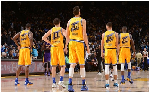 The elite starting five of the Golden State Warriors look on to take down any opponent to reach another NBA final.