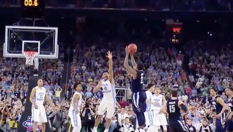 Kris Jenkins nails the game-winning shot in one of the most intense NCAA Championship games in history. Screen shot from video: https://youtu.be/rl0tNPftwTM