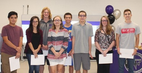 September Students of the Month from left-right: Michal Gugliotta, Anna Schwaemmle, Tyler Hogan, Savannah Steele, Braden Randolph, James Howell, Raicheal Havins, and Will Murray.