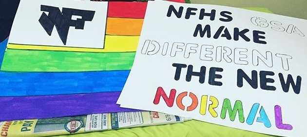 "The picture shows two signs advertising the GSA at North High. The one on the right reads ""NFHS GSA MAKE DIFFERENT THE NEW NORMAL"" which is to sum up a huge part of the club's purpose, making LGBTQ+ students feel less estranged. Photo by Diana Rodgers."