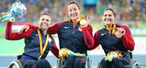 "(From left to right) The ""Mc-trio,"" Amanda McGrory, Tatyana McFadden and Chelsea McClammer, won multiple medals for the women's 1500-meter T54. These athletes train and compete alongside one another (Photo from TeamUSA.org)."