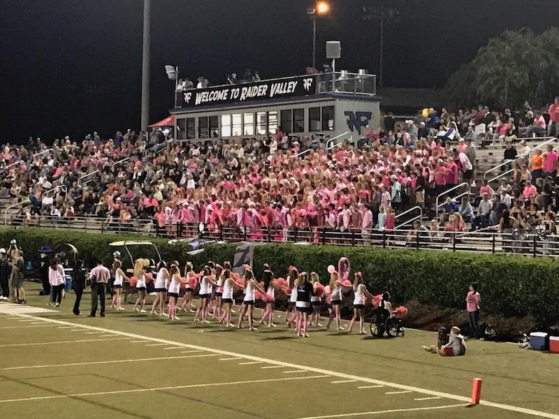 Pink out in Raider Valley! The crowd and cheerleaders wore pink to support breast cancer awareness in a Raiders' recent home game.
