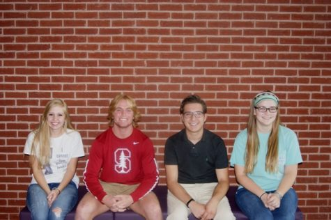 Left to Right: Secretary Layne Winters, Vice President Bradley Thomas, President Justin Skaggs and Treasurer Rachel Jennings sit for a portrait, excited to meet with Ms. Glenda Santiago for their first congregation as Senior Student Council.