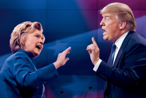 Clinton and Trump are engaged in an intense debate, as they bicker over who is the better candidate. While they argue, the candidates avoid talking about important governmental topics. Photo taken by The Atlantic.