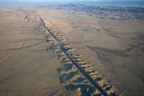 This photo shows the San Andreas Fault in aerial view from the Carrizo Plain. Photo by Jack Cloherty.