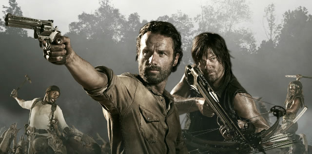 Rick Grimes, the main character, stands next to Daryl Dixon (wielding his trademark crossbow). Grimes (portrayed by Andrew Lincoln) and Dixon (portrayed by Norman Reedus) have both been a part of the show since the first season.