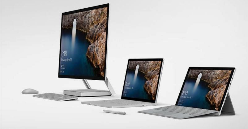 Microsoft proudly showcases the Surface family on their homepage.