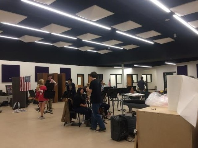 Depicted above is the main room for classes in the new band room, which is used for full ensemble, guitar class, percussion classes, and several other purposes. Compared to the space of the old band room, this is a major upgrade, and many more band items can be stored here.