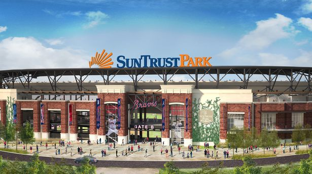 Concept art of Suntrust Park, which will be opening up next year (Source: www.ballparksofbaseball.com).