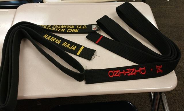 Martial arts are greatly varied in many aspects including their belts. To the right, is a Karate black belt, while to the left is a Taekwondo black belt.