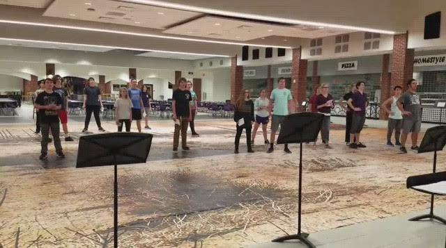 In the image above, North Forsyth High School's Indoor Drumline is practicing drill for their first performance in February. The drumline will be performing their show, Wasteland, in North's newest gym in exhibition.