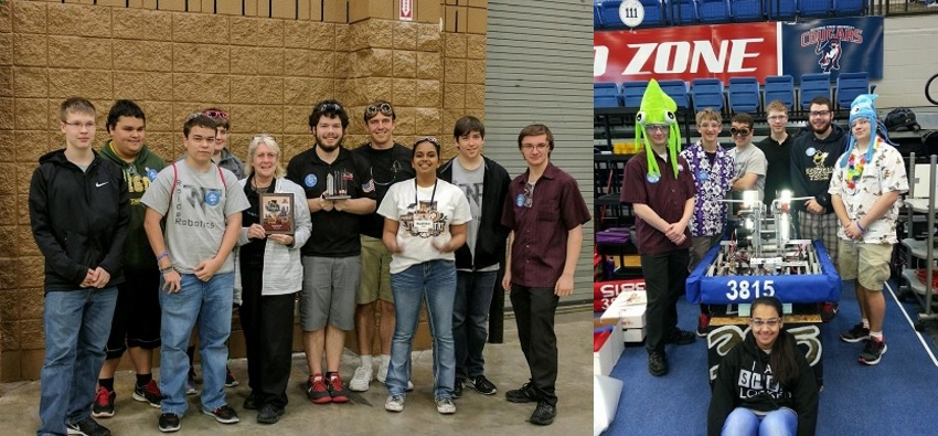 (L) The team at Dalton with their creativity award (left to right) Jacob Nickels, Angel Mercado, Logan Swafford, Jason Gay,(Coach) Jodie Marshall, Noah Davis, Ryan Oswalt, Radhika Raja, Eric Laurin and Chase Frye. (R) The team at Columbus with the award winning robot (middle), Ramya Raja, (Left to Right), Chase Frye, Nick Fornek, Logan Swafford, Jacob Nickels, Noah Davis and Micah Davis.