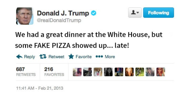 Trump slammed the pizza giant in a tweet.
