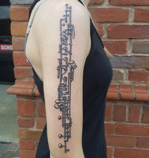 Brown recently got a tattoo of the keys on an oboe after her 18th birthday. It is very intricate work and represents her love and passion for her instrument.
