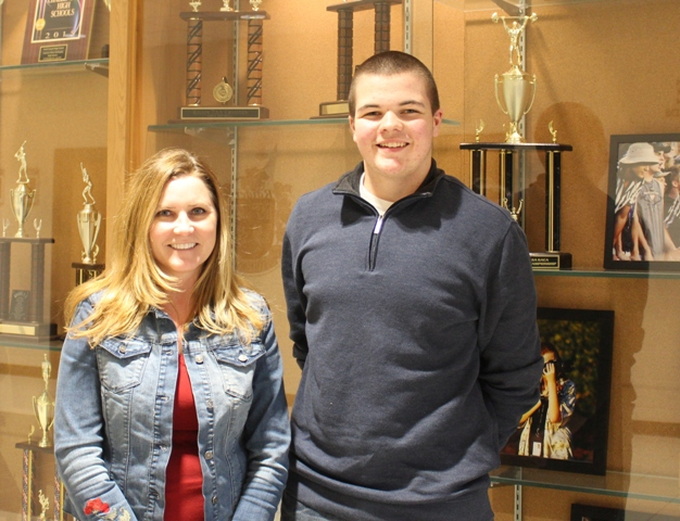 Brendan Floody (right), is pictured with his English teacher, Ms. Angela Hollis (left), an AP English Language teacher at NFHS. She acted as North's faculty sponsor for the entire event.